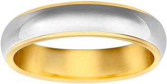 Online Two-Tone Medium Dome Flat Edge Wedding Band