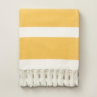 Indigo Striped Picnic Blanket Sunshine Yellow
