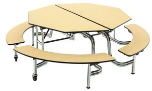 "Mobile 60"" Octagon Bench Cafeteria Table AmTab Manufacturing Corporation"
