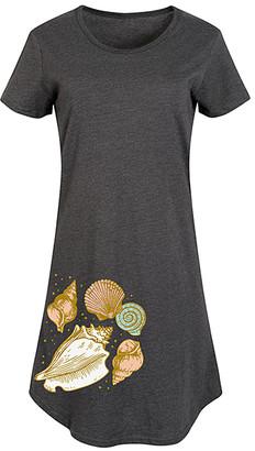 Instant Message Women's Women's Tee Shirt Dresses HEATHER - Heather Charcoal Seashell Cluster Short-Sleeve Dress - Women & Plus