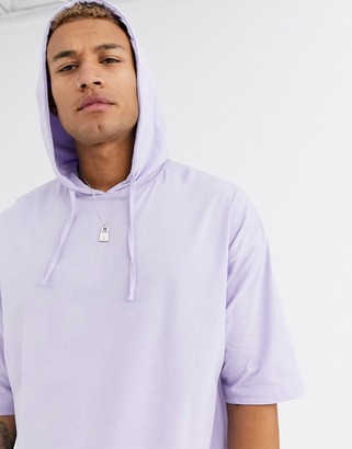 Asos Design DESIGN oversized half sleeve lightweight jersey hoody with elasticated hem in purple