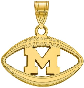 LogoArt 14K Gold Plated Michigan Wolverines Pendant in Football
