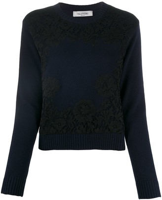 Valentino Lace Overlay Jumper