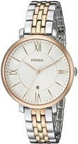 Fossil Women's ES3844 Jacqueline Three-Hand Date Stainless Steel Watch – Tri-Tone