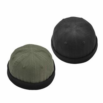 Sharplace Set of 2 Piece Unisex Retro Docker Leon Beanie Cap Brimless Cotton Hats Docker Hat for Fisherman Sailor (Navy and Black Set)