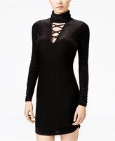 Material Girl Juniors' Velvet Lattice-Front Bodycon Dress, Only at Macy's