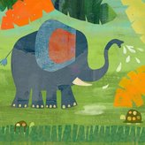 Oopsy Daisy Fine Art For Kids Elephant Shower Stretched Canvas Wall Art by Amy Schimler, 14 by 14-Inch