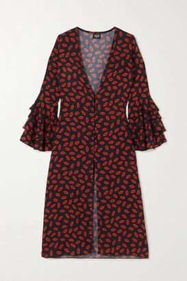 Leslie Amon Thalita Ruffled Printed Cotton-voile Kaftan - Black