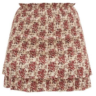 Sir. Flore Floral-jacquard Shirred Cotton-blend Skirt - Red Print