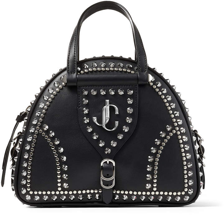 Jimmy Choo VARENNE BOWLING/S Black Calf and Vachetta Leather Bowling Bag with Gold JC Emblem and Studs