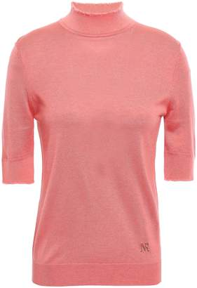 Nina Ricci Frayed Silk, Cashmere And Wool-blend Turtleneck Top