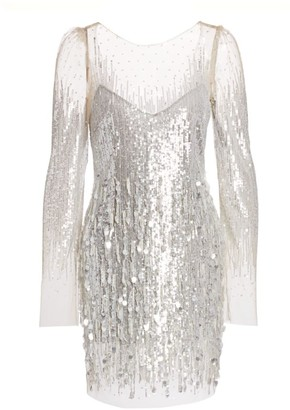 Monique Lhuillier Embellished Tulle Mini Dress