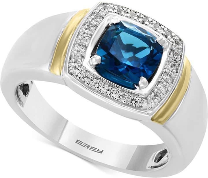 Effy Men's London Blue Topaz (1-5/8) & Diamond (1/6 ct. t.w.) Ring in Sterling Silver and 14k Gold