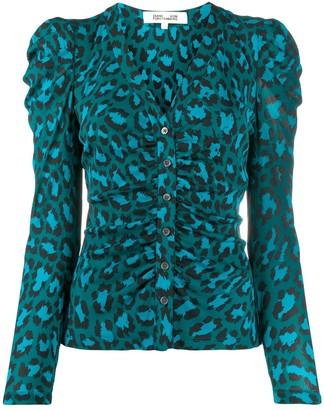 Dvf Diane Von Furstenberg Ruched Leopard-Print Jacket