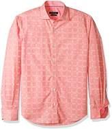 Bugatchi Men's Drummond Long Sleeve Tonal Windowpane Button Down Shirt