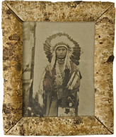 Rejuvenation Birch Framed Native American Chief Photo c1900