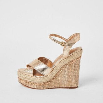 River Island Gold embellished two part wedge sandals