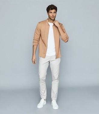 Reiss Stanley - Textured Zip Through Polo Shirt in Camel