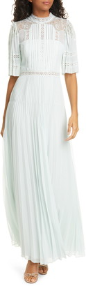Self-Portrait Lace Bodice Pleated Maxi Dress
