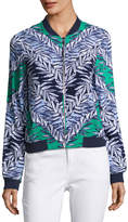 Laundry by Shelli Segal Leaf-Print Bomber Jacket, Green/Blue