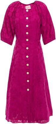 Kate Spade Gathered Fil Coupe Cotton And Silk-blend Midi Dress