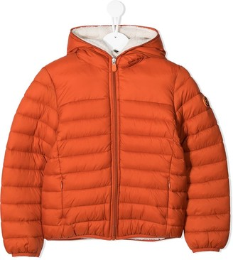 Save The Duck Kids Logo Patch Hooded Padded Jacket