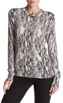 Equipment Ondine Zip Shoulder Print Cashmere Silk Blend Sweater