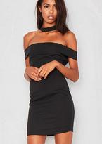 Missy Empire Liza Black Bardot Mini Dress with Choker