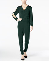 Thalia Sodi Faux-Leather-Trim Jumpsuit, Only at Macy's