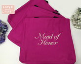 Etsy Fucshia Hot Pink Bridesmaid Gifts, Monogrammed Totes, Personalized Gift Tote Bags, Bridal Party Gift