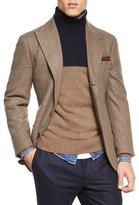 Brunello Cucinelli Flannel Two-Button Blazer, Brown