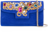Casadei jewelled shoulder bag - women - Chamois Leather/Nappa Leather/Brass/plastic - One Size