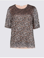 Classic Lace Front Round Neck Half Sleeve T-Shirt