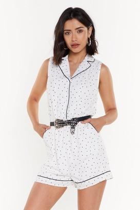 Nasty Gal Womens Polka Dot Print Binding Playsuit - White - L