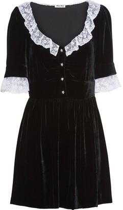 Miu Miu Crushed Velvet And Lace Dress