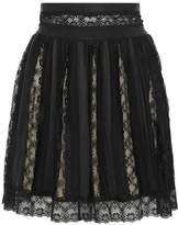 Pierre Balmain Paneled Lace Washed-Satin And Crepe Mini Skirt