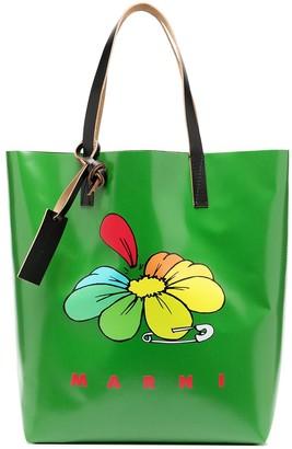 Marni Floral Logo Tote Bag