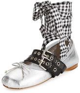 Miu Miu Metallic Belted Ankle-Wrap Ballerina Flat, Argento