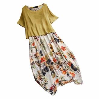 CUTUDE Women Plus Size O-Neck Vintage Print Dress Ladies Patchwork Two Pieces Pockets Maxi Skirt (Yellow L)