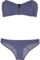Lisa Marie Fernandez Lauren Stretch-denim Bandeau Bikini - Mid denim