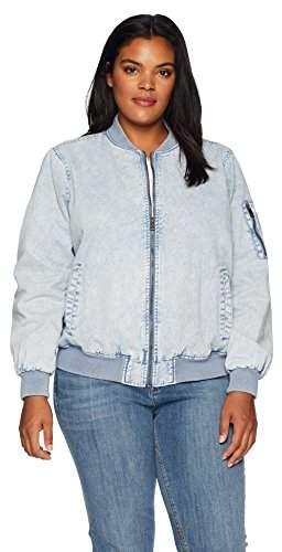 Size Women\'s Plus Acid wash Cotton Bomber Jacket