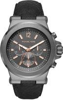 Michael Kors Men's Chronograph Dylan Black Leather Strap Watch 46mm MK8511