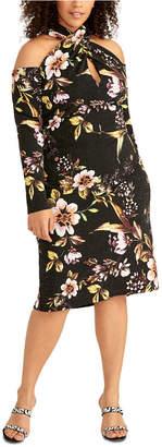 Rachel Roy Plus Size Cold-Shoulder Crisscross Halter Dress
