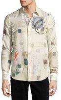 Alexander McQueen Postcard-Print Cotton-Silk Shirt, Ivory