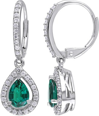 Stella Grace Sterling Silver Lab-Created Emerald & Lab-Created White Sapphire Teardrop Leverback Earrings
