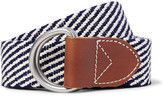 J.crew - 3.5cm Leather-trimmed Woven Cotton Belt