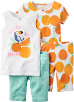 Carter's 4-pc. Orange You Sleepy Pajama Set - Baby Girls newborn-24m