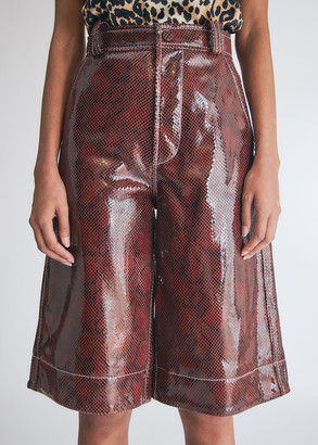 Ganni Women's Snake Foil Leather Wide Leg Shorts in Decadent Chocolate Pants, Size 34