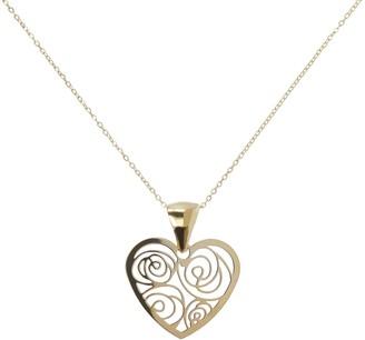 Italian Gold Filigree Heart Pendant w/ Chain, 14K