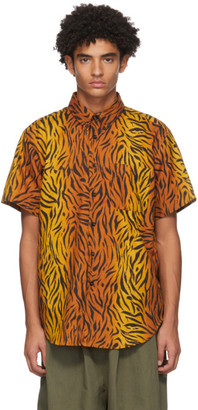 Naked and Famous Denim Orange Big Tiger Easy Short Sleeve Shirt